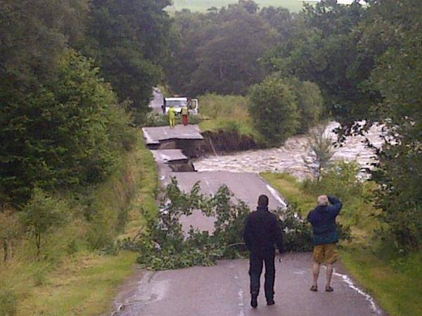 The road was swept away at Tomintoul, Moray last week during the storms