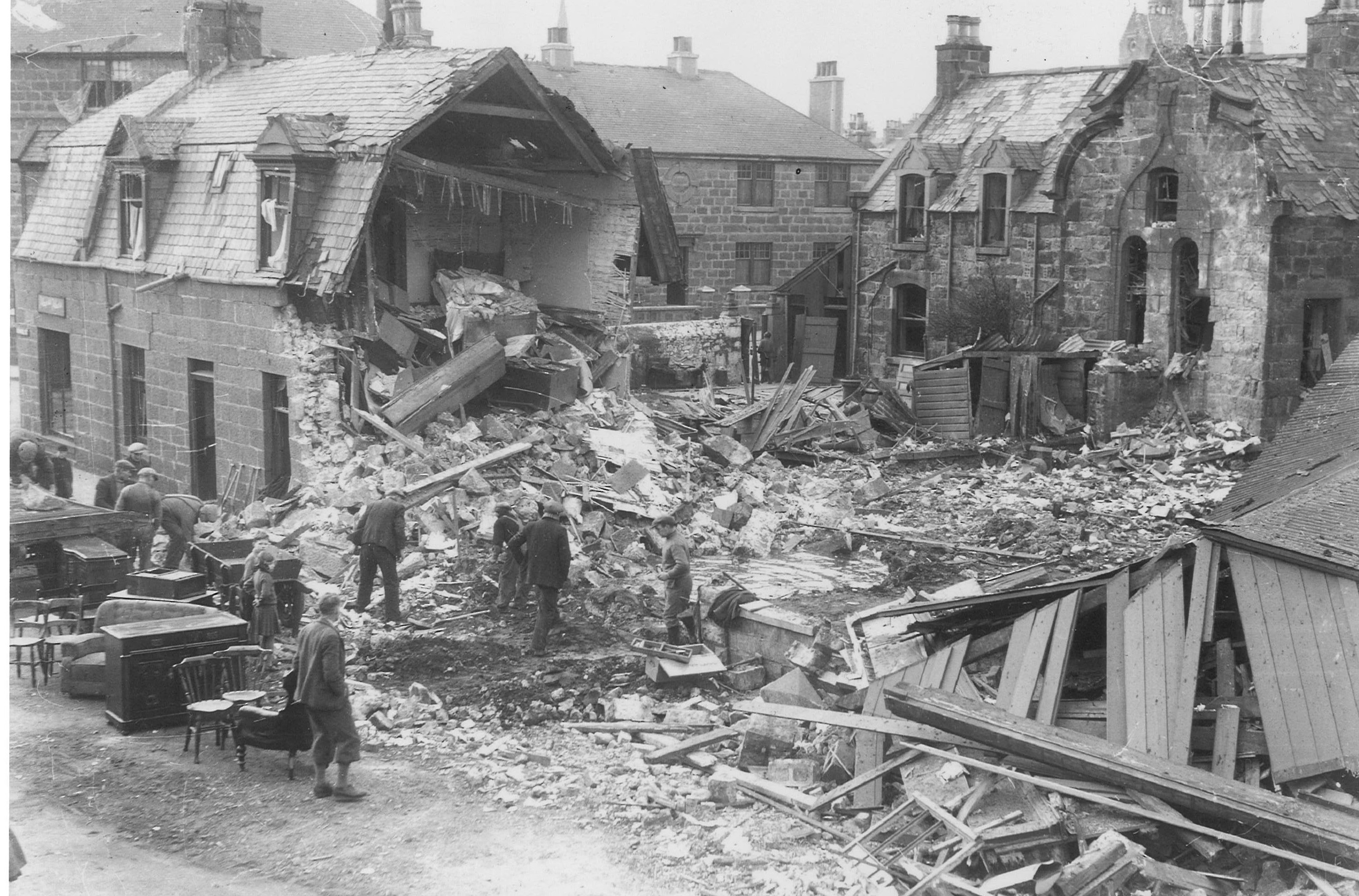 Bomb damage in Fraserburgh, 20 February 1943
