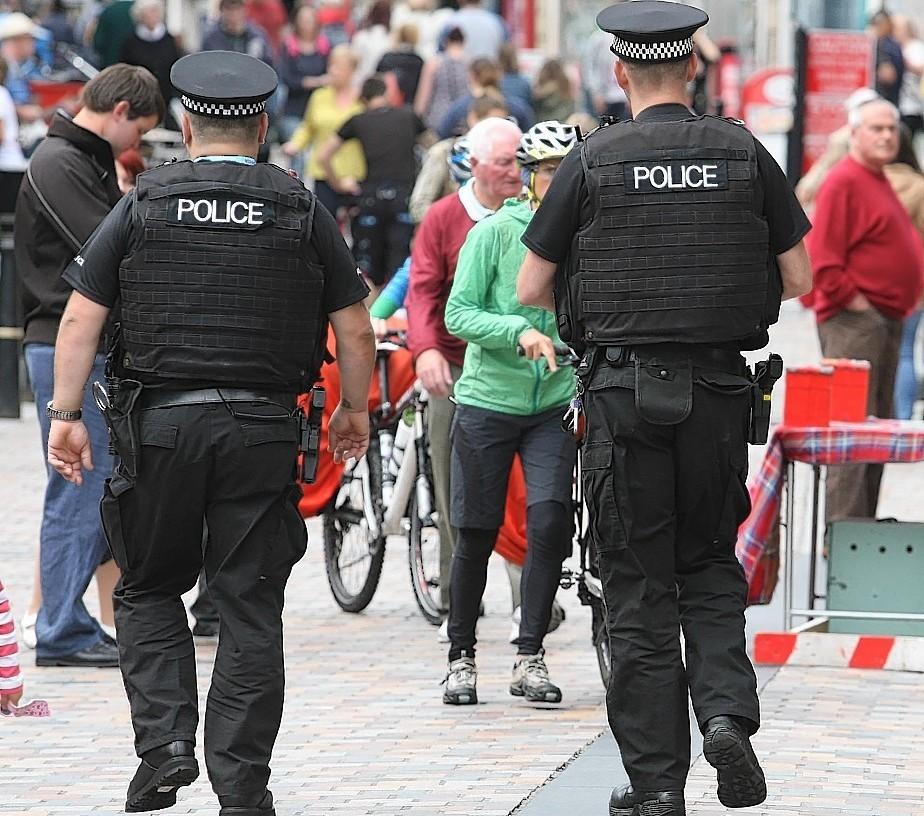 Armed officers on the beat  in Inverness