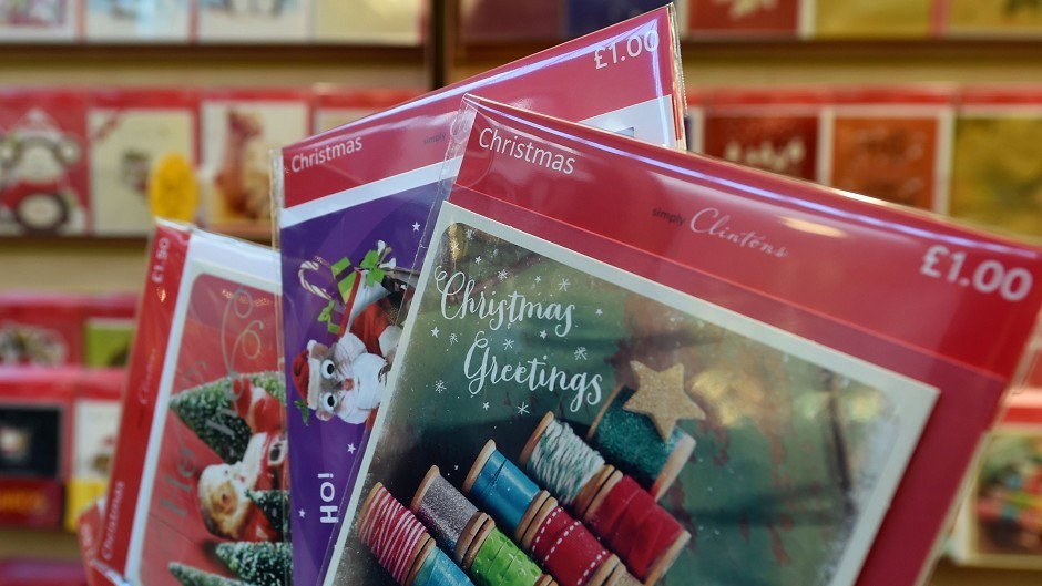 Christmas cards on sale in a Clintons store