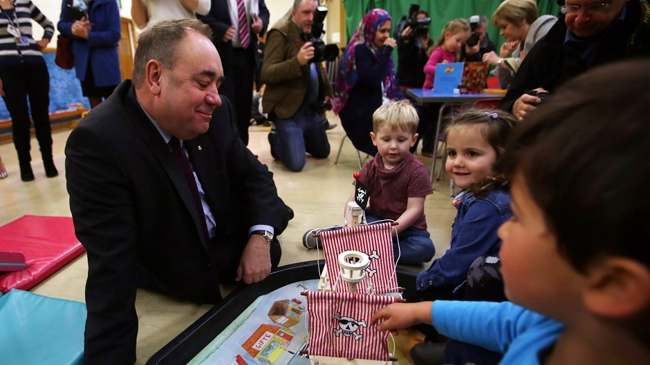 "Alex Salmond has vowed to ""transform"" childcare"