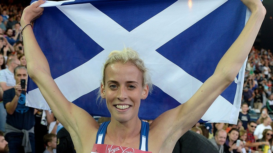Scotland's Lynsey Sharp celebrates her silver medal in the Women's 800m
