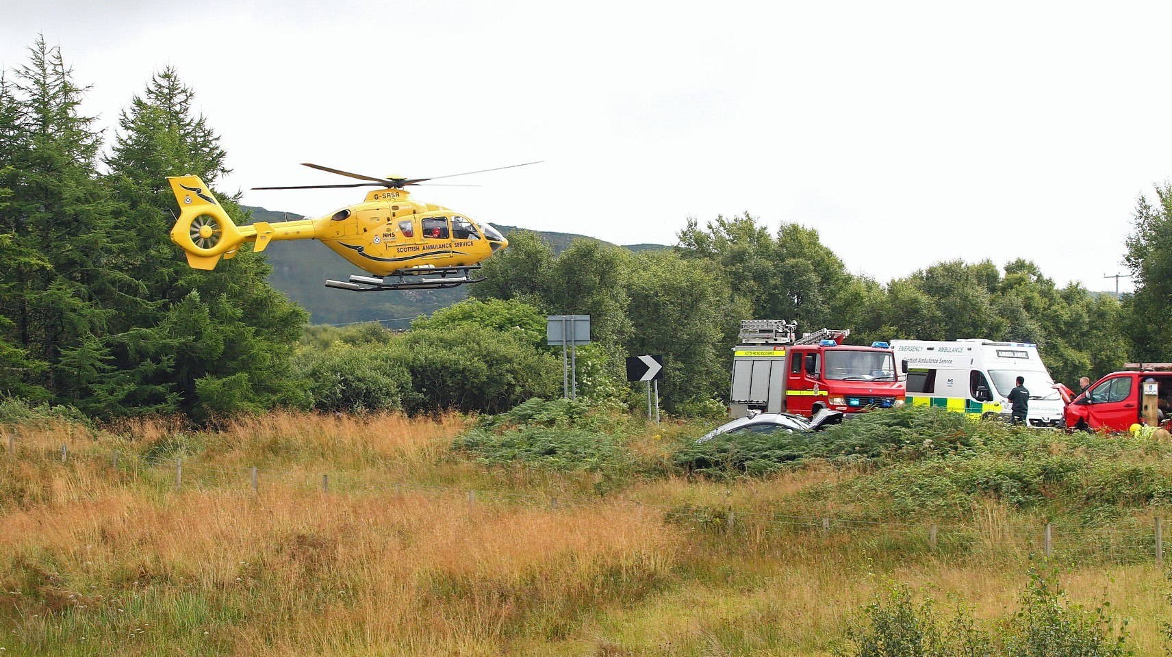 The man is airlifted to hospital from the scene of the accident on the A816. Picture by Kevin McGlynn