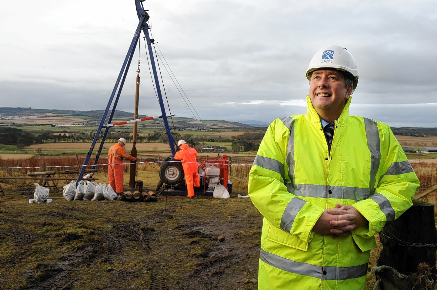 Infrastructure Secretary Keith Brown heralds start of work on Aberdeen bypass.