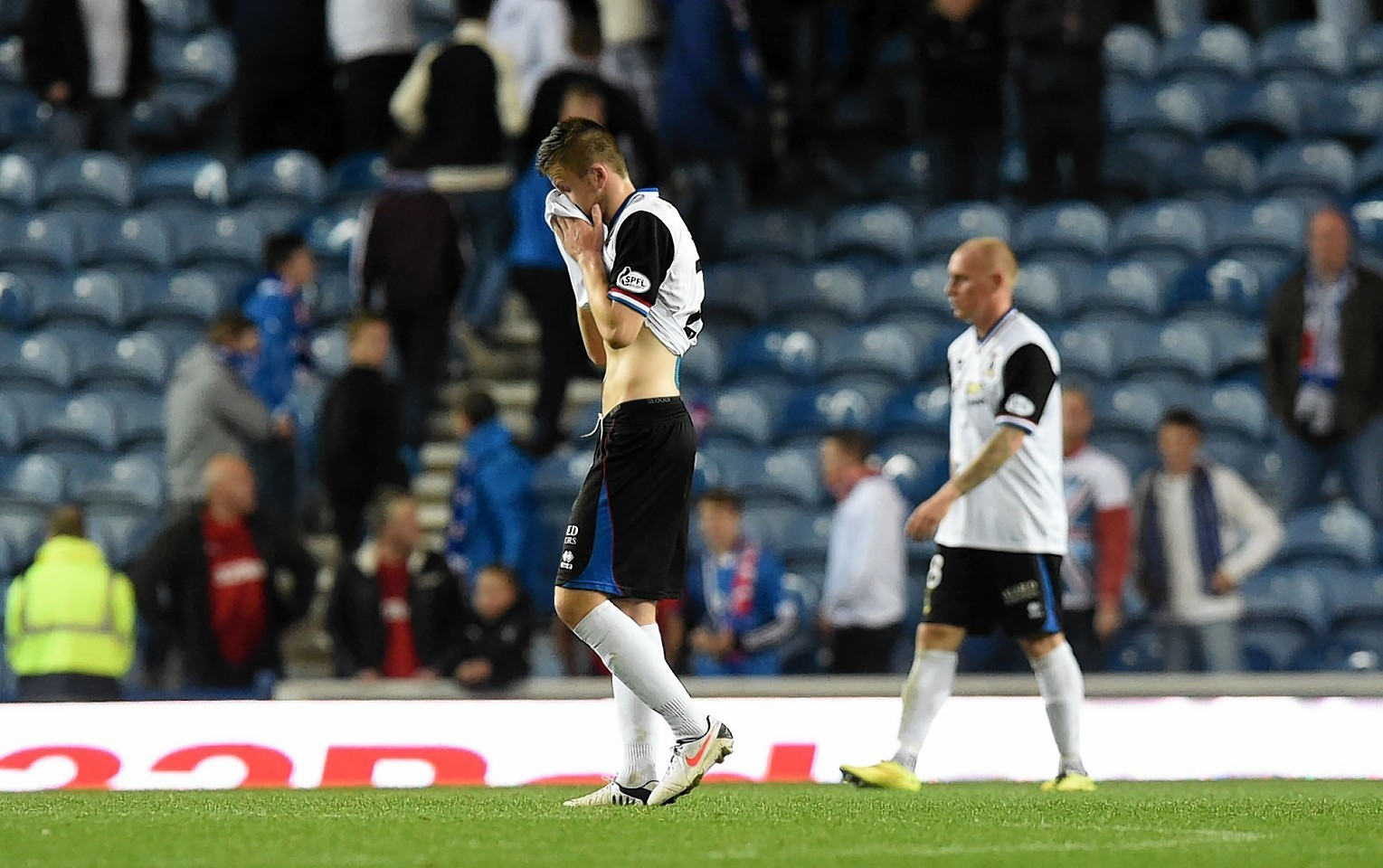 And that was that for Caley Thistle as Liam Polworth trudges off the pitch following the 1-0 defeat