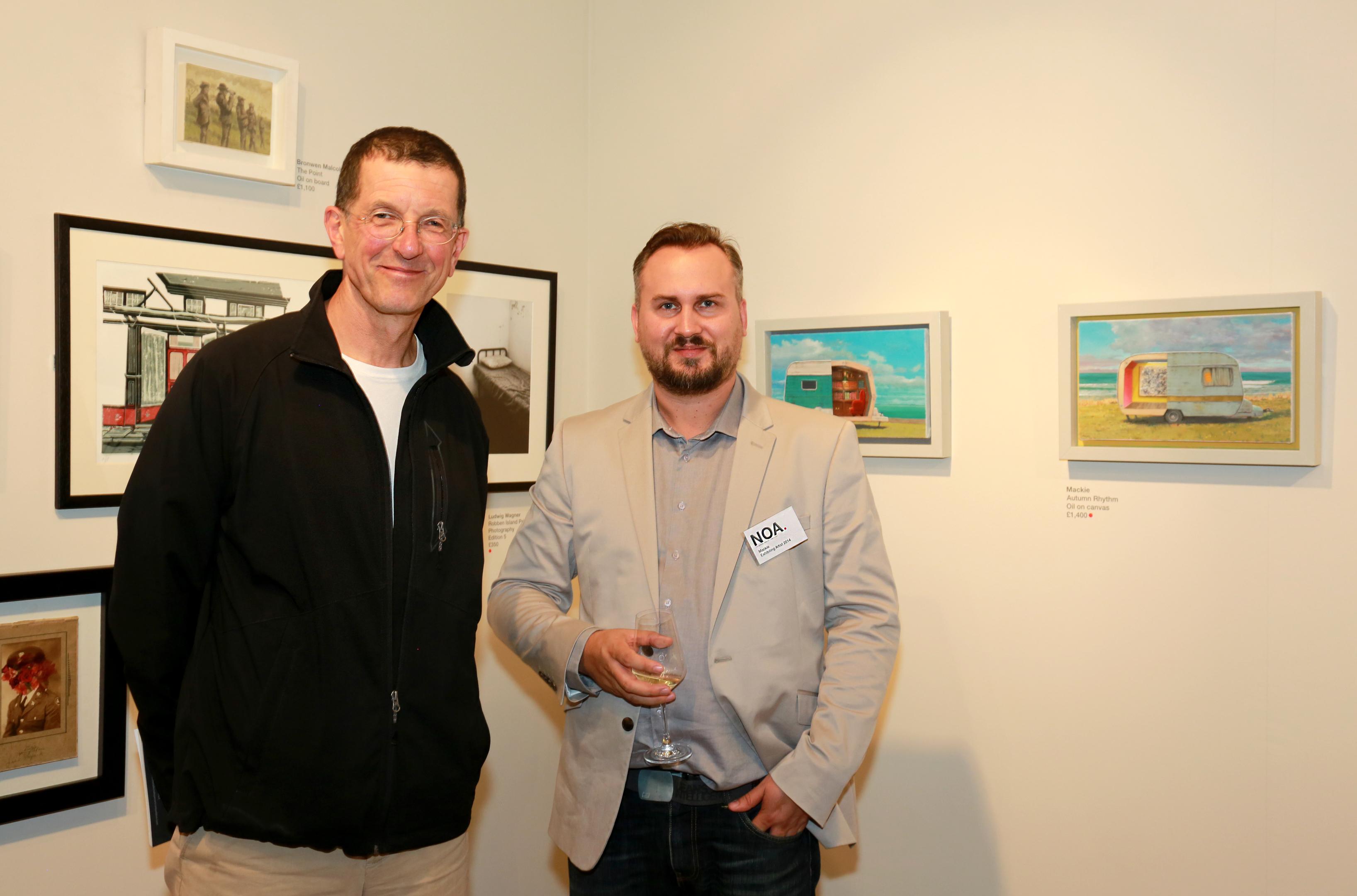 Artist Andrew McIntosh -known as Mackie (right) with Antony Gormley.