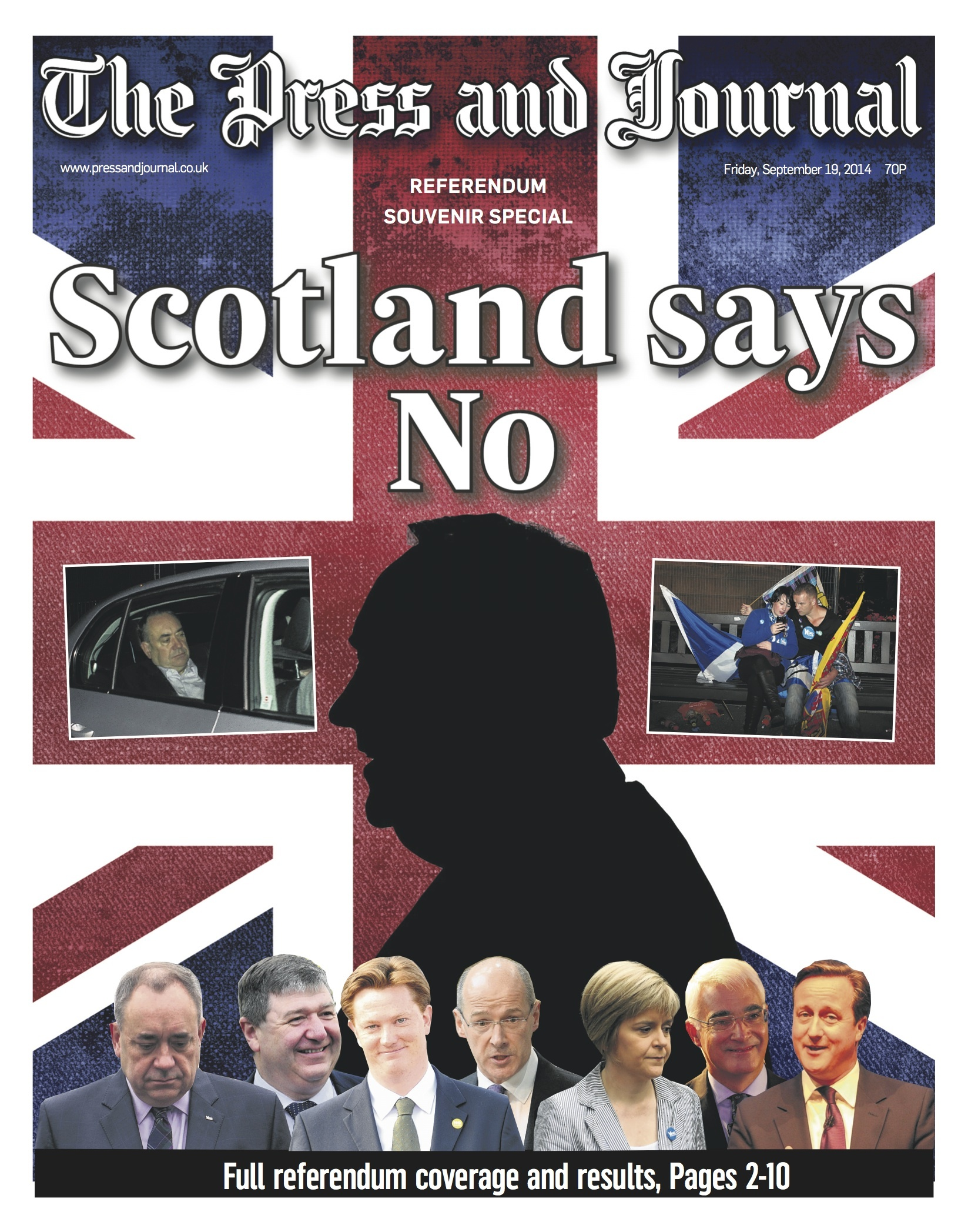 The Press and Journal's front page as Scotland votes no