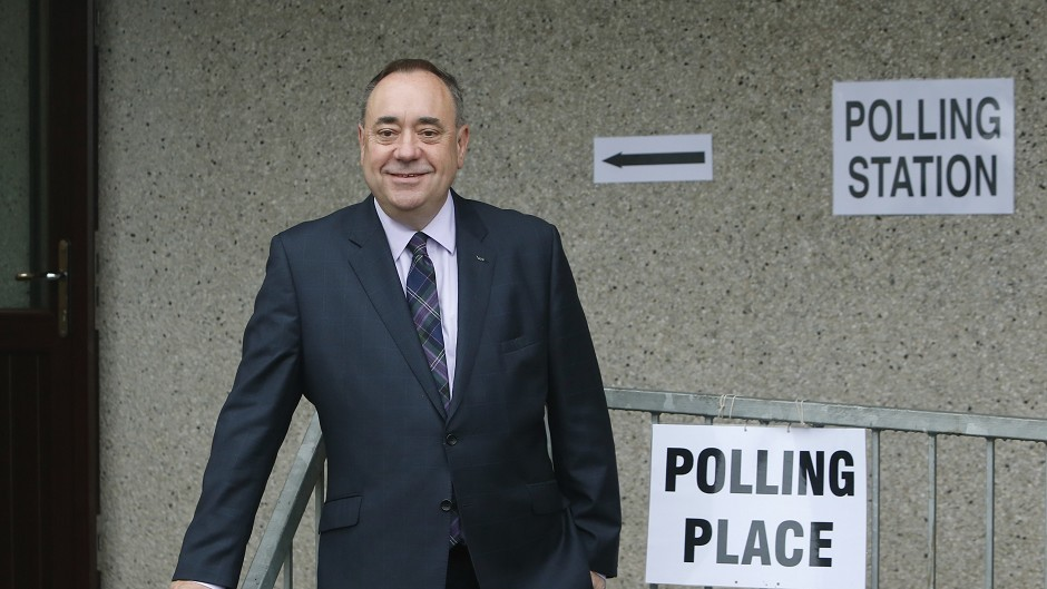 Scottish First Minister Alex Salmond outside Ritchie Hall polling station in Strichen