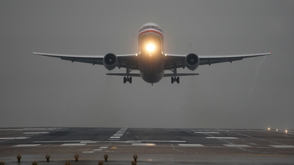 Flights are delayed as a result of thick fog