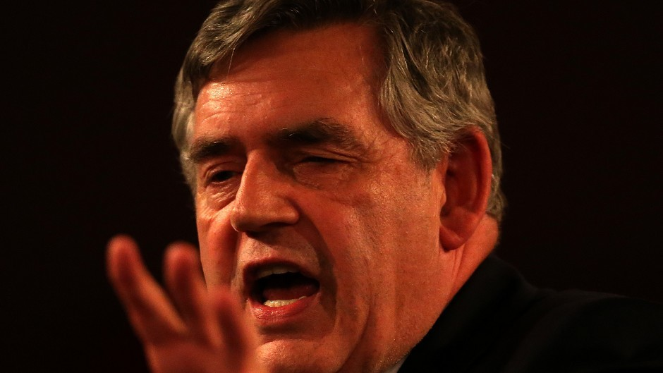 Former Prime Minister Gordon Brown speaks to an audience at the Glasgow Royal Concert Hall whilst on the Scottish Referendum campaign trail.