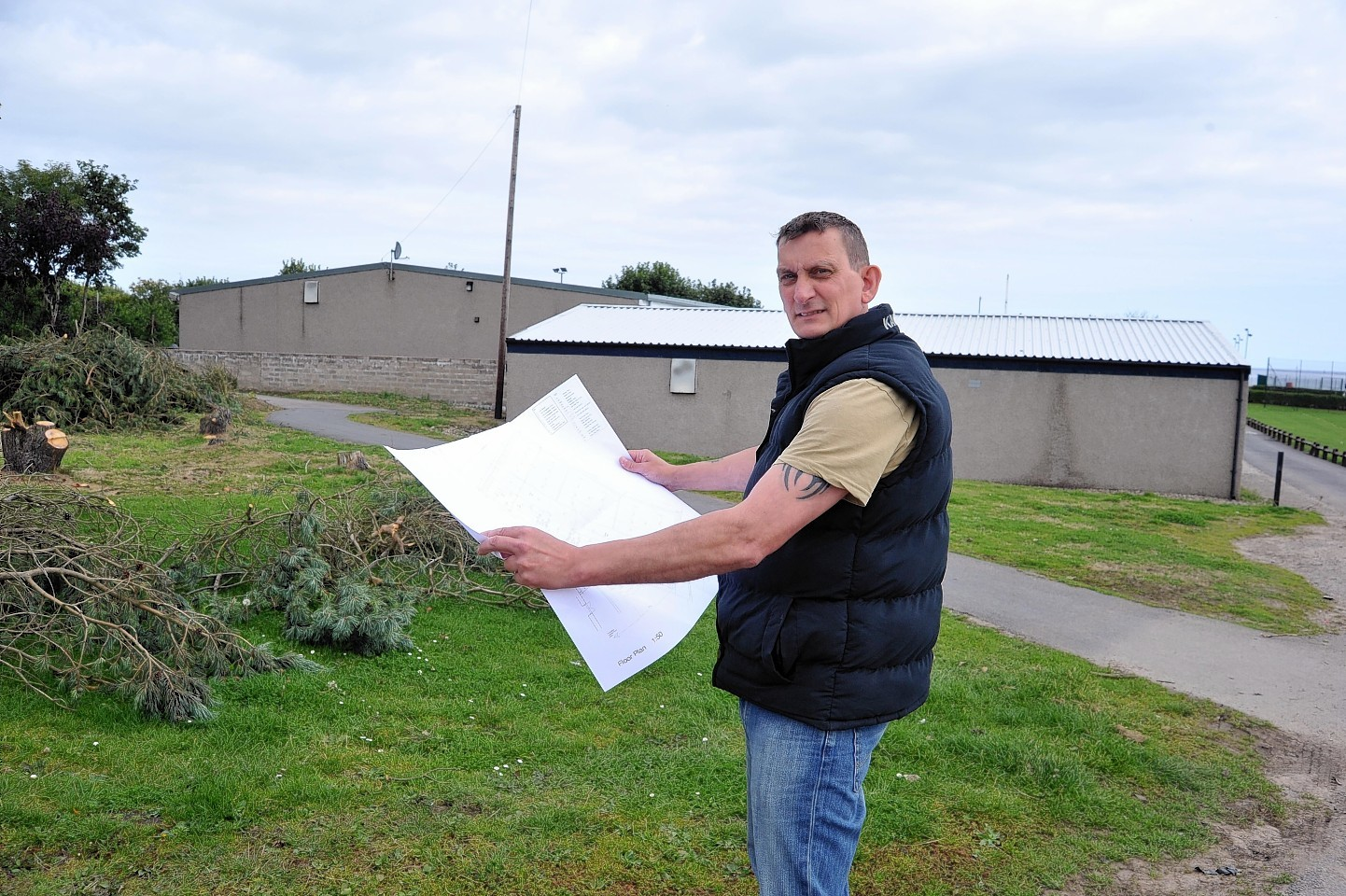 Paul Greenall with the squash court plans for Fraserburgh