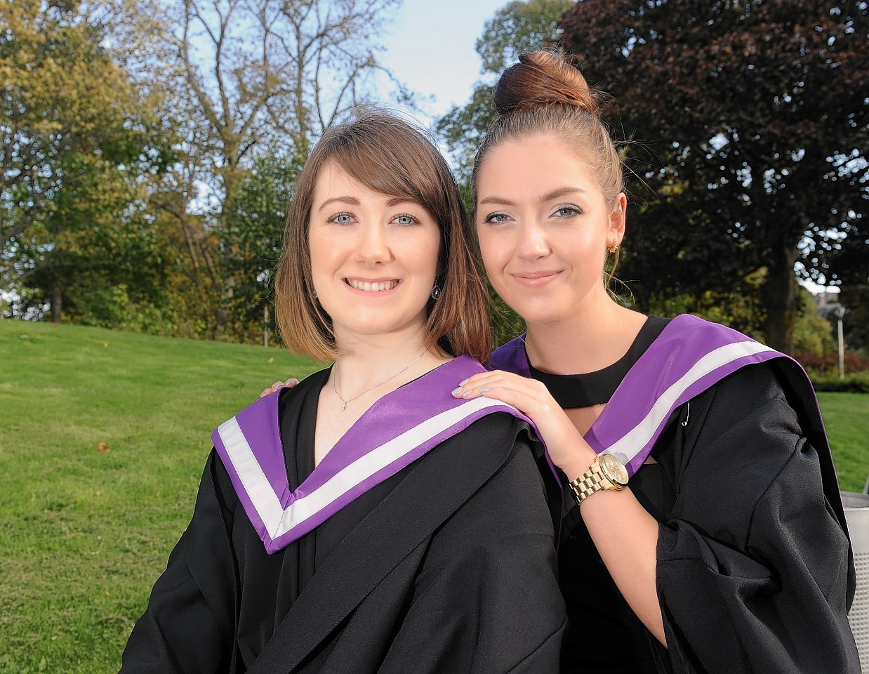 Rachel Bews and Lara Gilchrist graduated from Inverness College yesterday