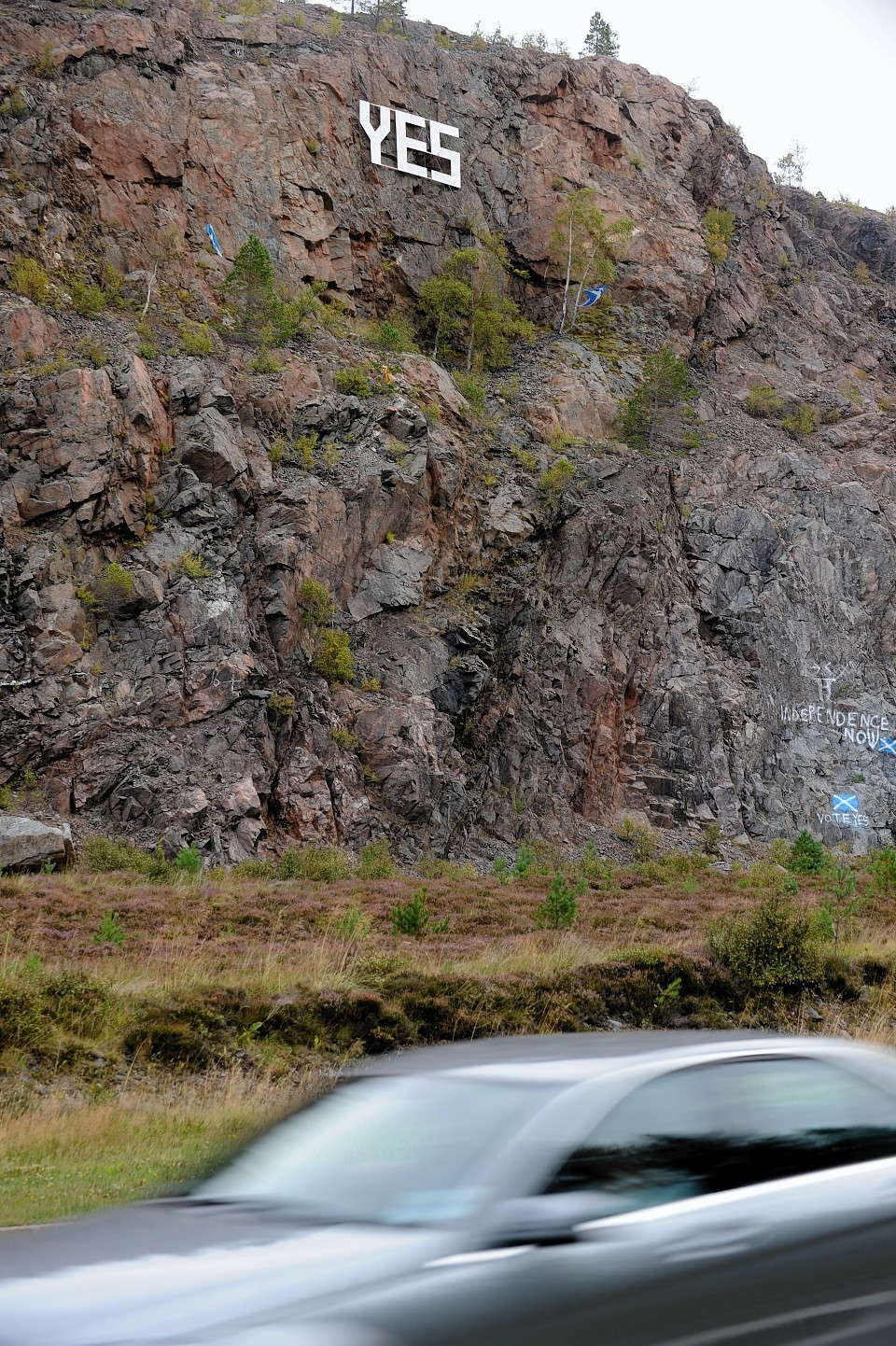 The Yes sign at the Slochd on the A9