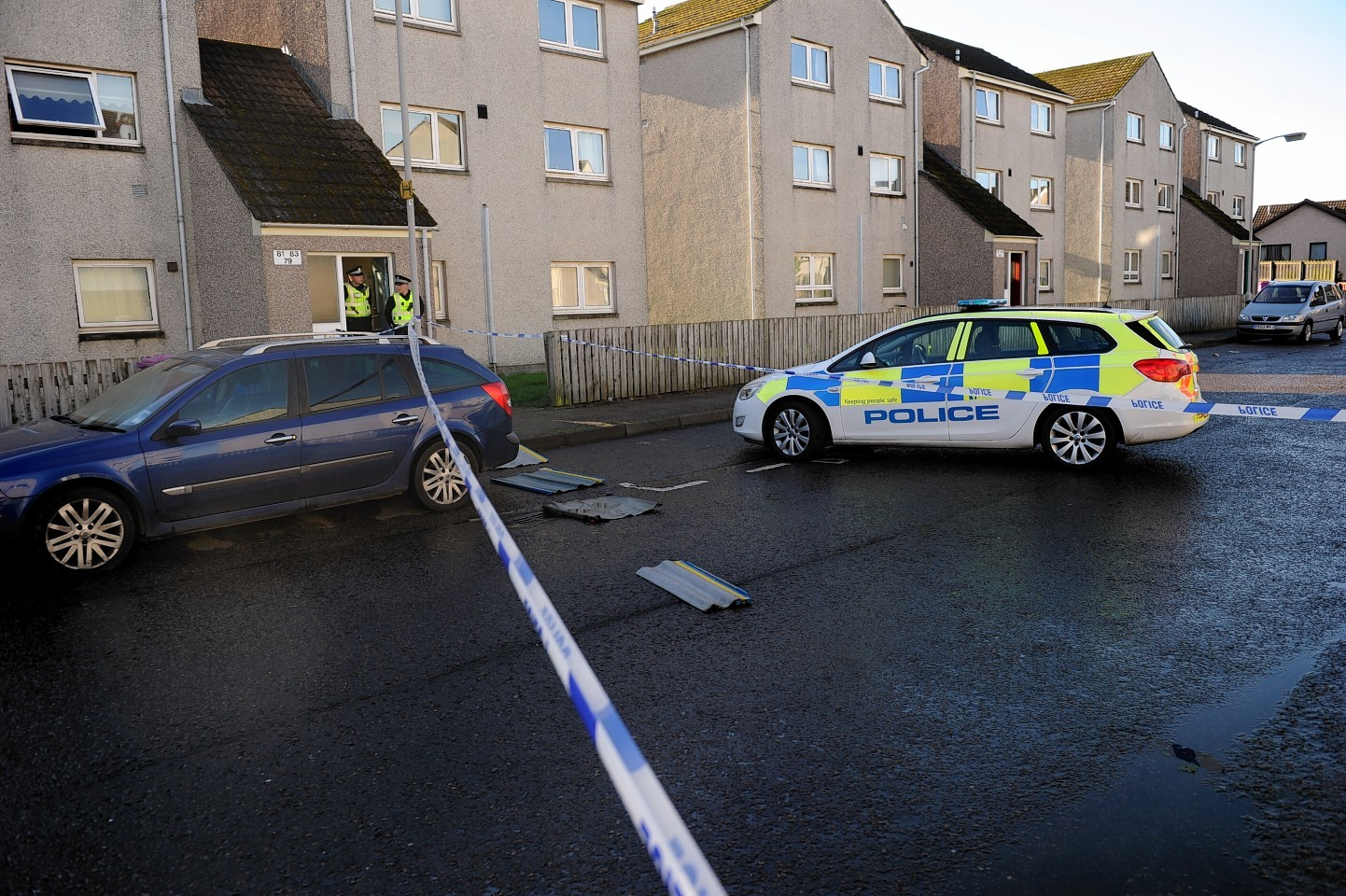 Police at the scene of the incident in Elgin