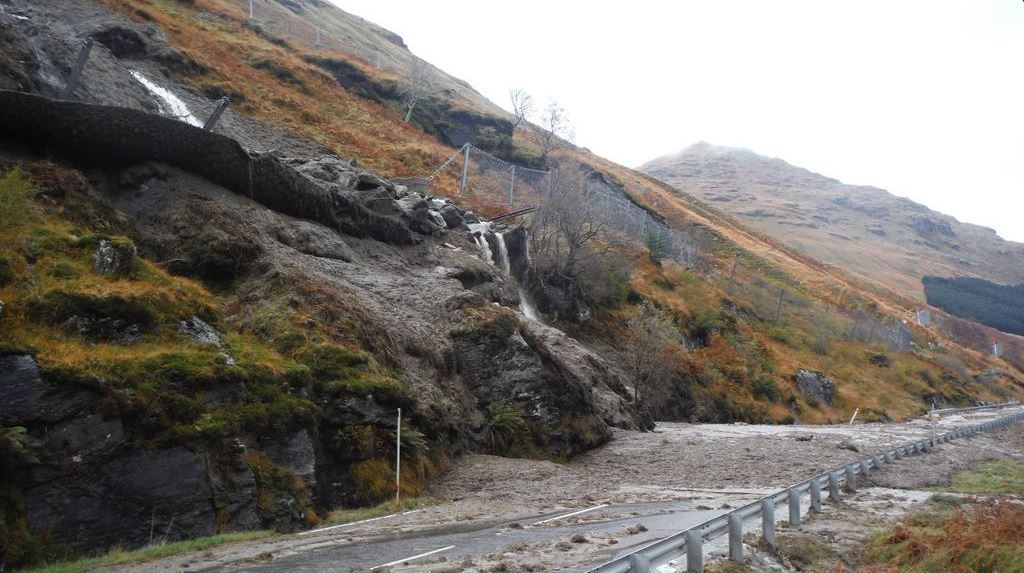 Heavy rain caused a landslide on the A83 at the Rest and Be Thankful in October.