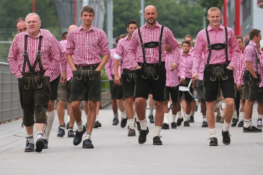 Bayern Munich stars donned their Lederhosen and joined the fun at Oktoberfest this afternoon