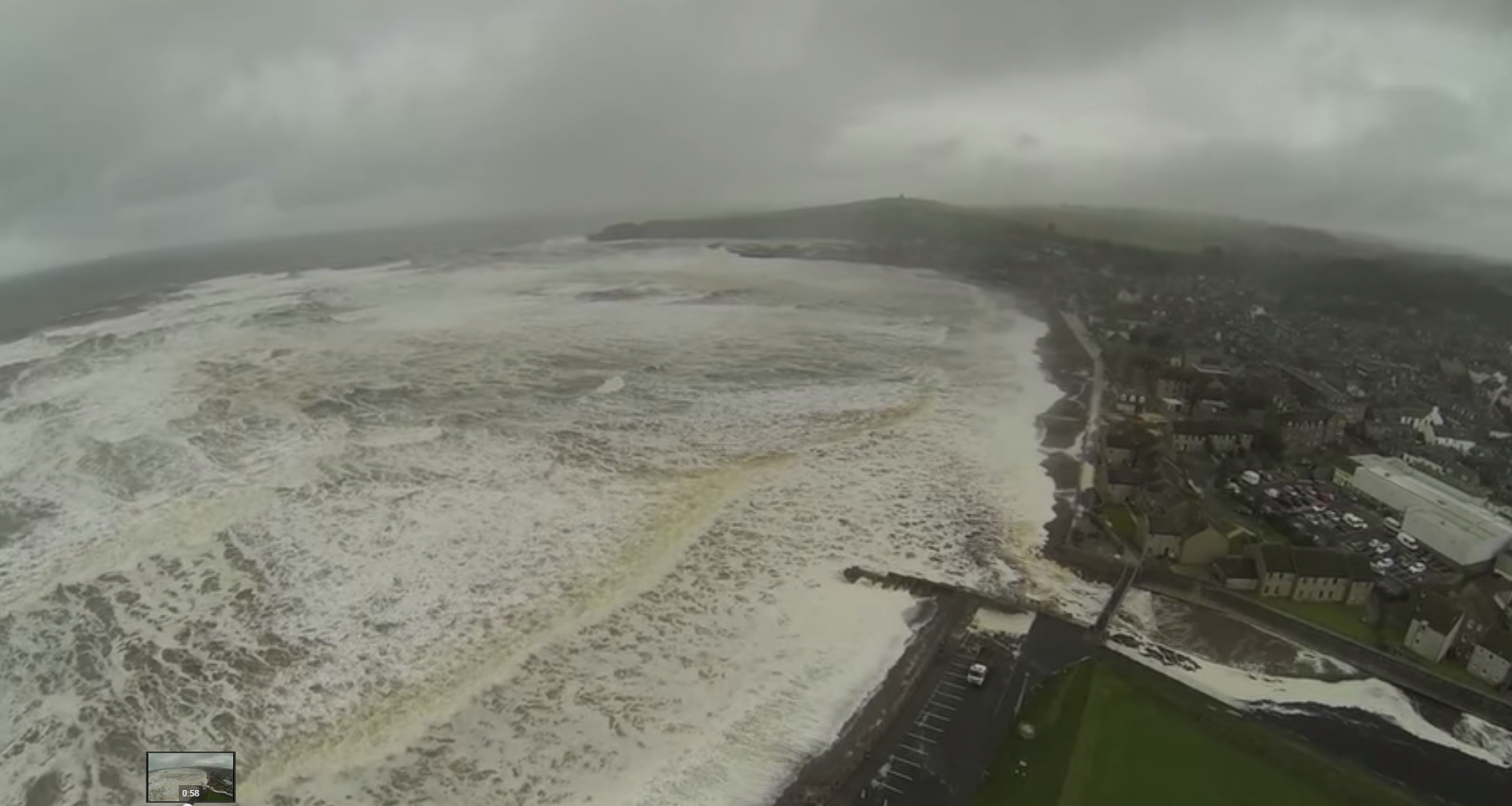 The video footage captures the very worst of the waves