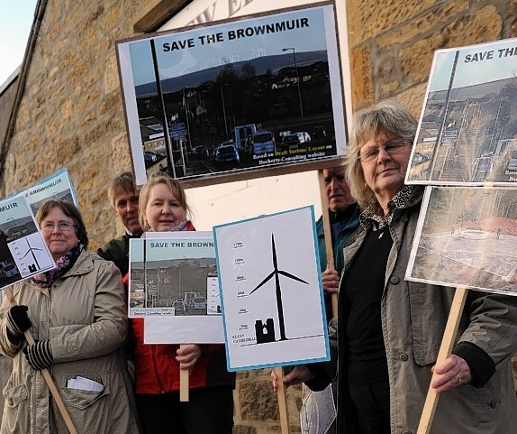 Protesters campaigning against the wind farm in 2012