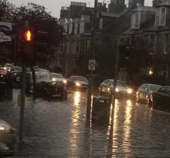 Flooding in Aberdeen city centre last year. Picture by Twitter user James Watt