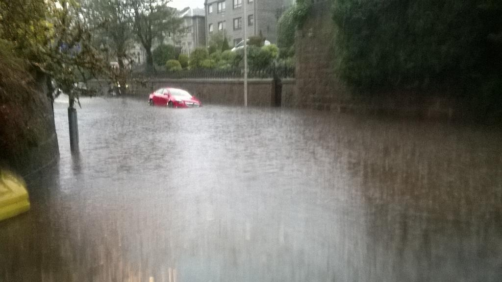 Flooding on Polmuir Road, Aberdeen last month. Picture by Twitter user @adamwright