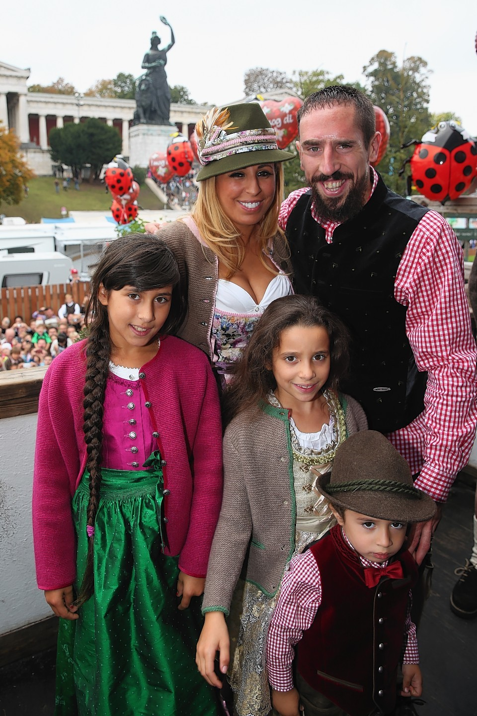 Family photo of the football player, married to Wahiba Ribéry , famous for Bayern Munchen.