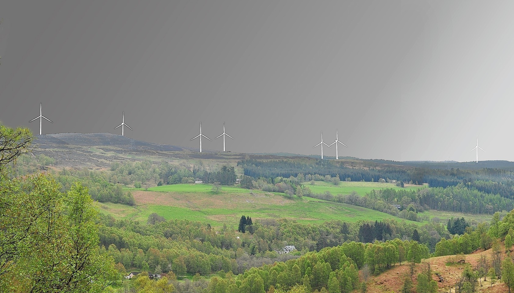 Artist impression of the proposed windfarm produced by anti windfarm group 'Glen Affric Friends Say No'