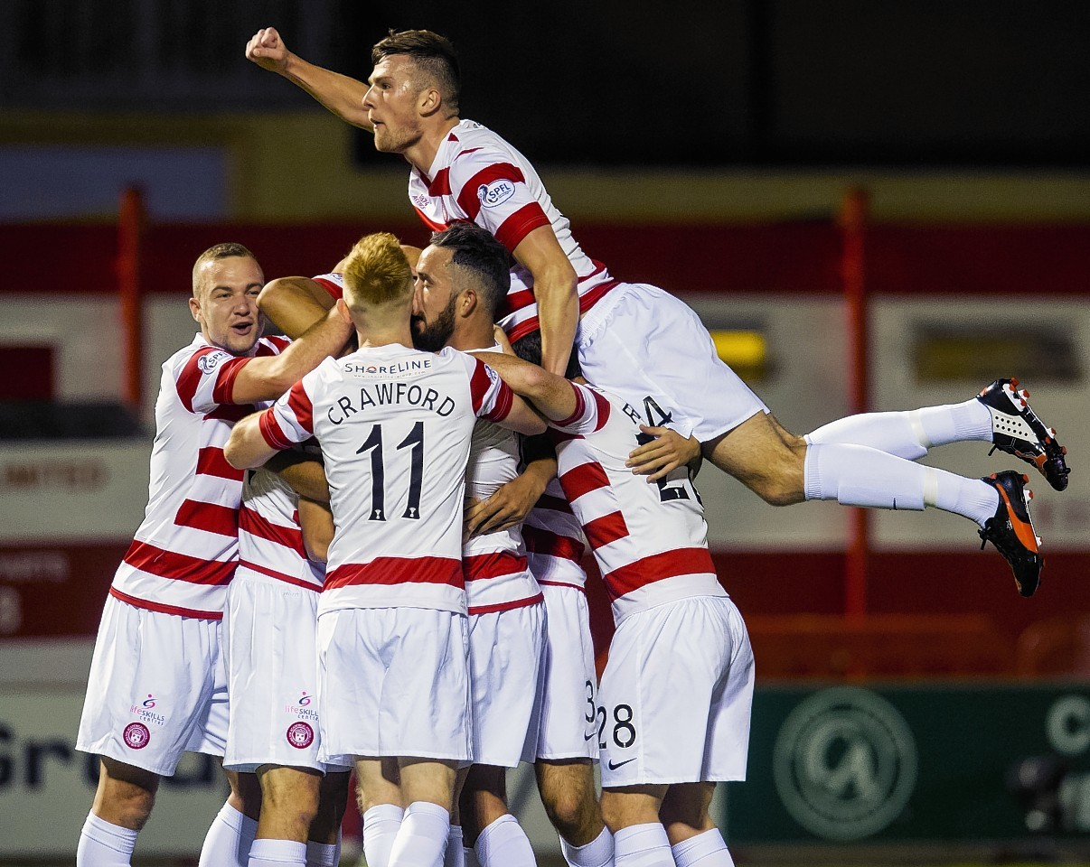 Hamilton Accies celebrate their recent victory over the Dons