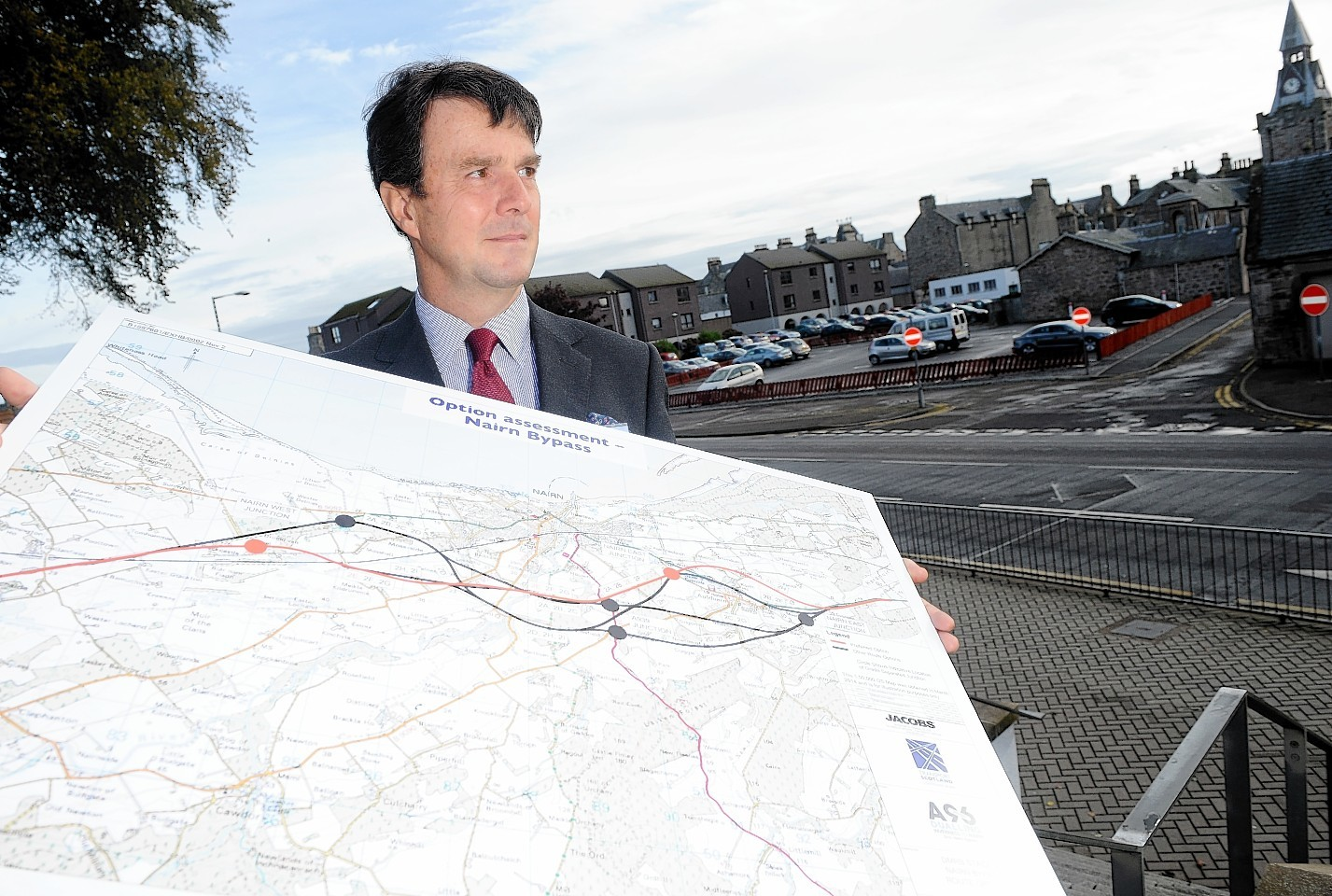 Transport Scotland's head of planning David Anderson shows the plans for Nairn.