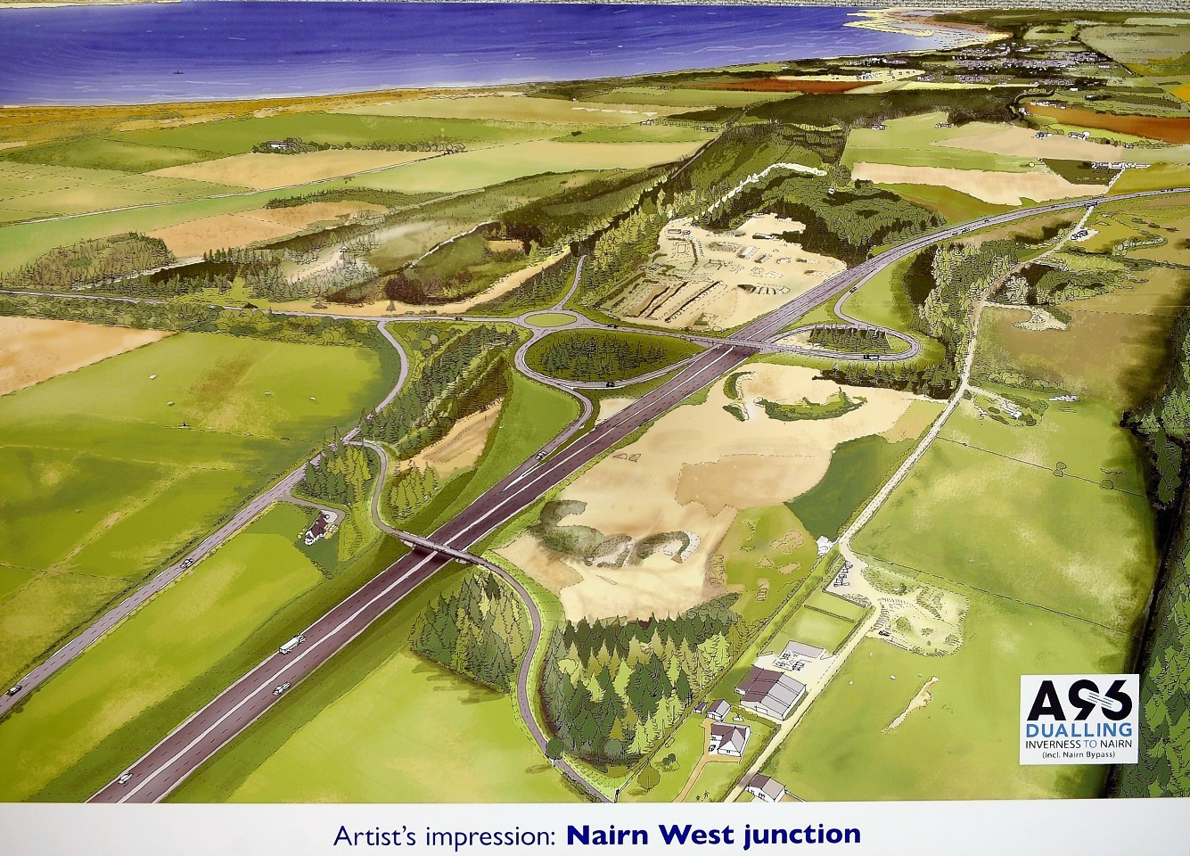 An artist's impression of a new junction west of Nairn as part of the bypass plans
