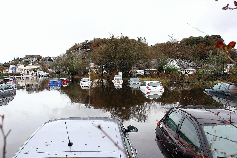 Flooding at Lochavullin Car Park in Oban in 2014