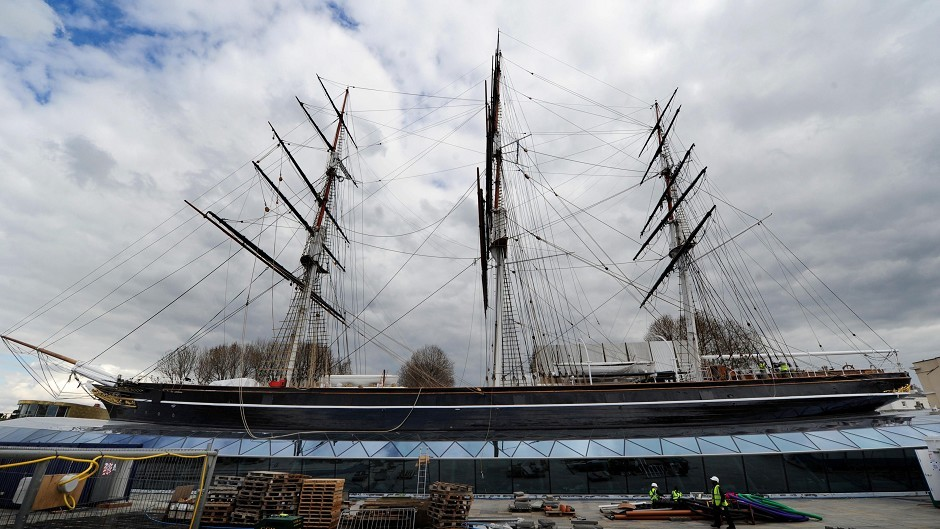The Cutty Sark, the world's oldest surviving tea clipper