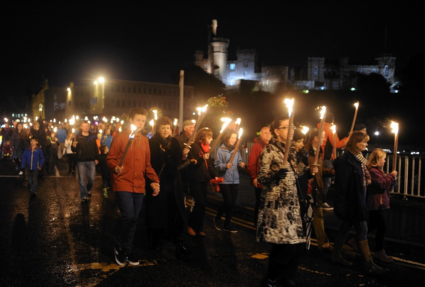 Royal National Mod torchlight procession through Inverness