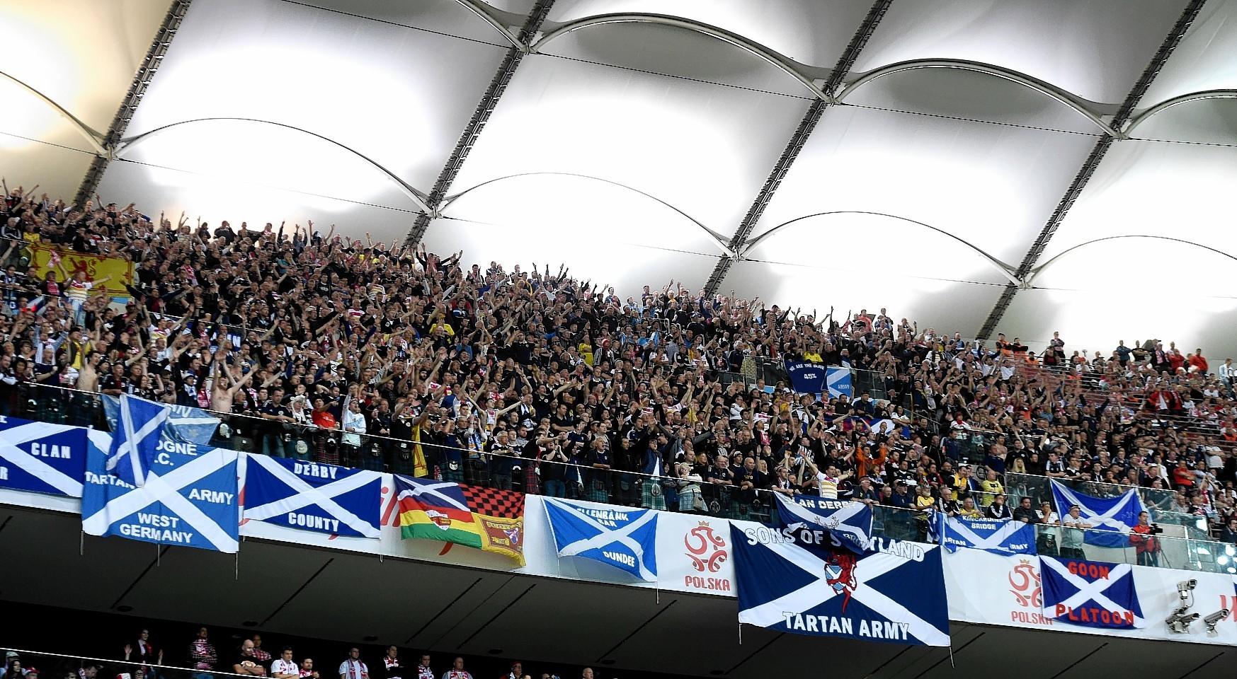 The Tartan Army in the Polish National Stadium on Tuesday night