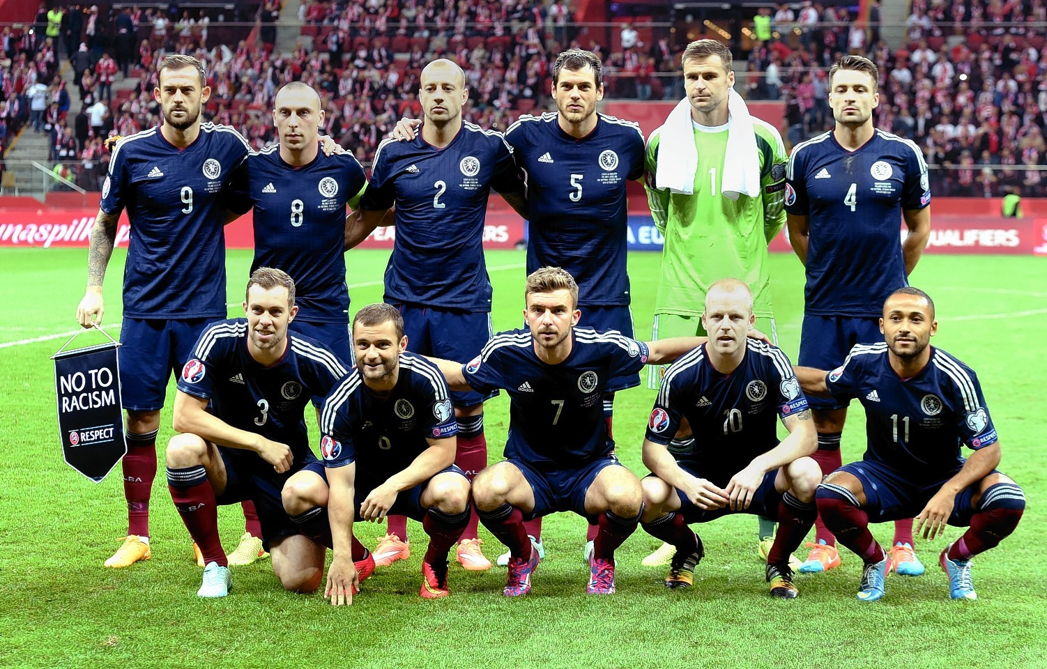 The Scotland team line up ahead of the match