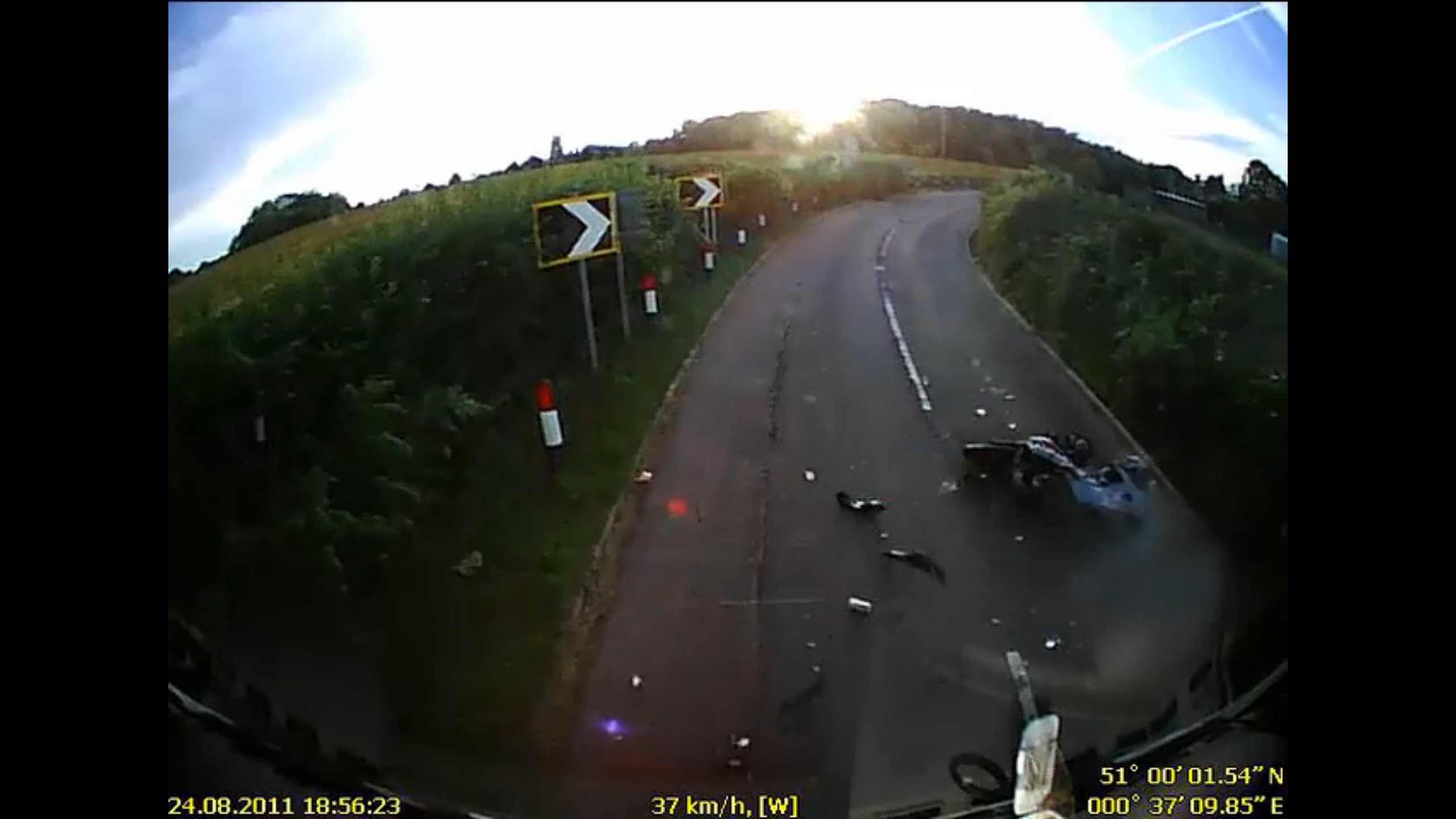 The biker somehow escaped with just a broken shoulder