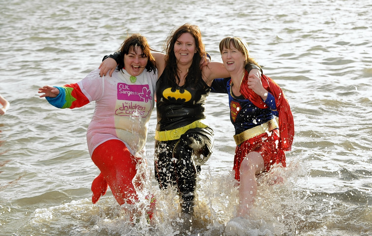 Participants from Clic Sargent's 2014 New Years Day Dip in Stonehaven