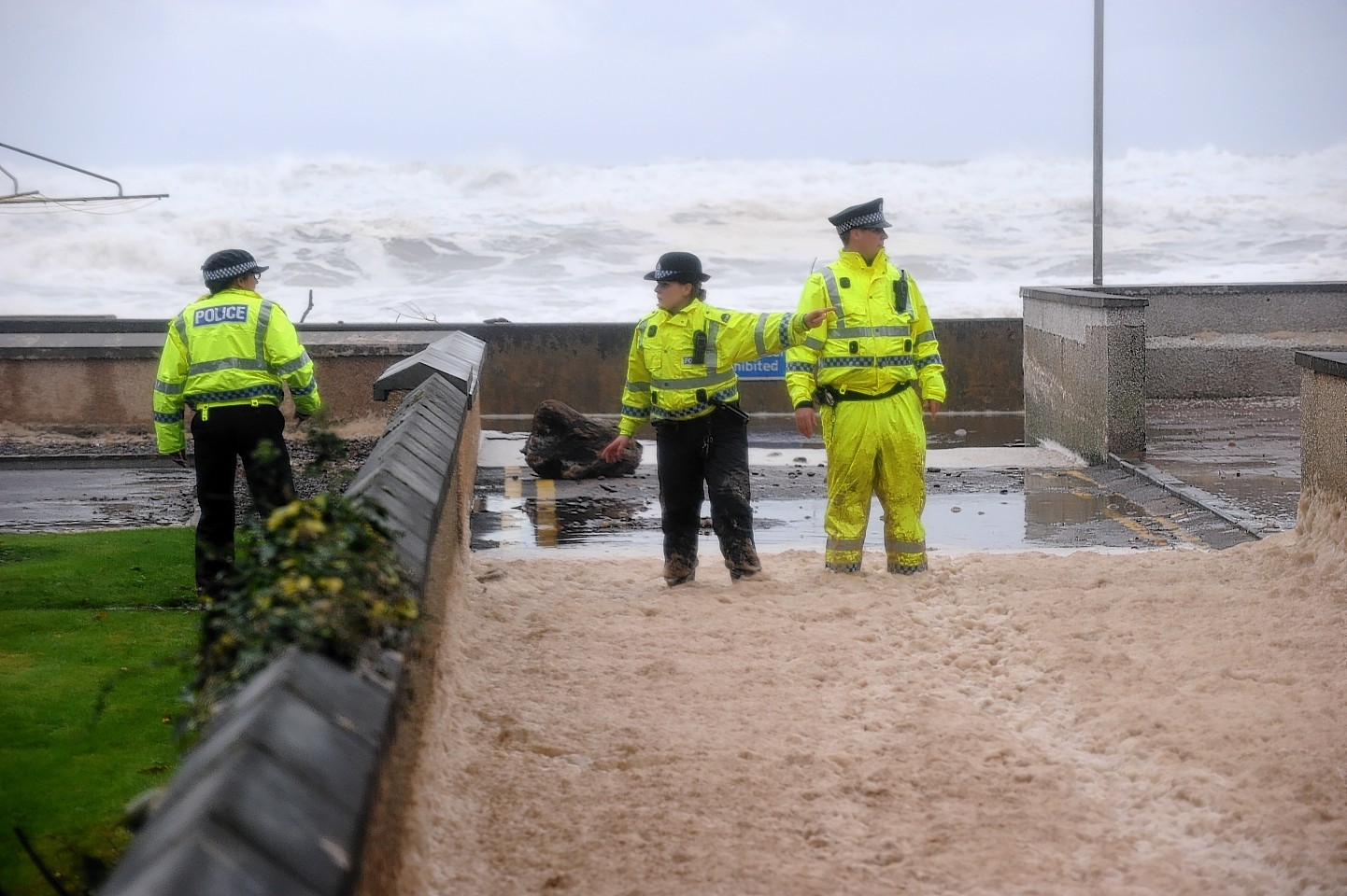 Stonehaven sea foam build-up. Pictures by Kenny Elrick