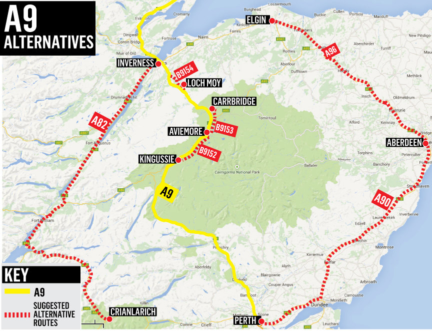 A9 alternative routes map