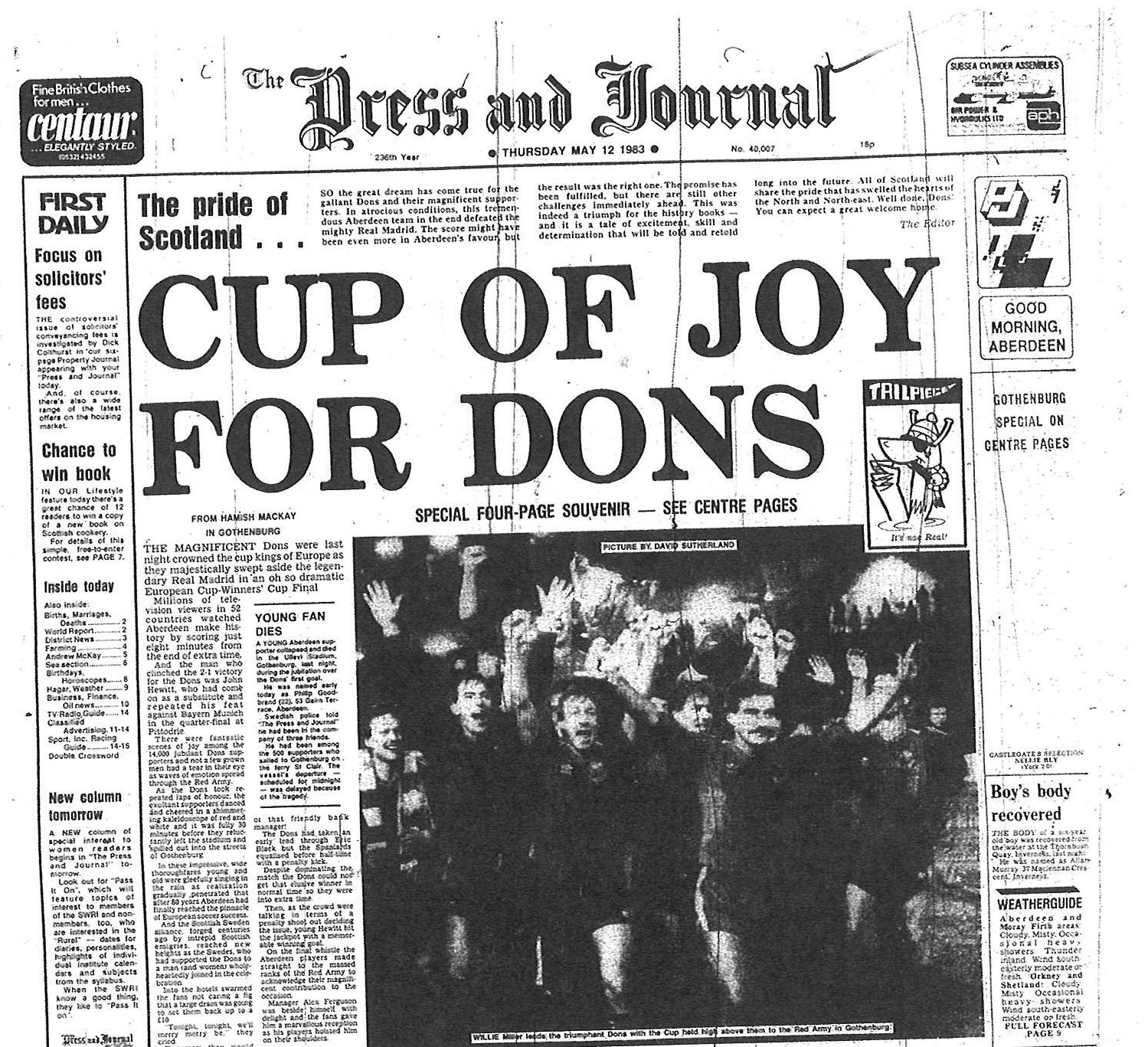 The front page on 12 May 1983 was dedicated to the Dons hour of glory