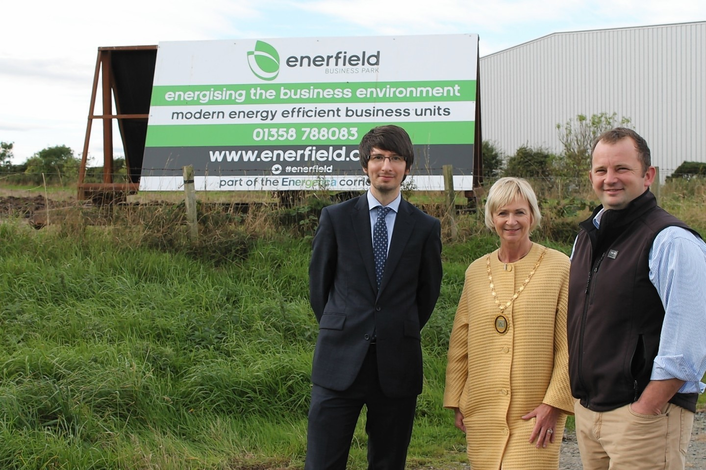 Developer Andrew Booth, right, with Aberdeenshire Provost Jill Webster and Energetica development manager James Welsh,