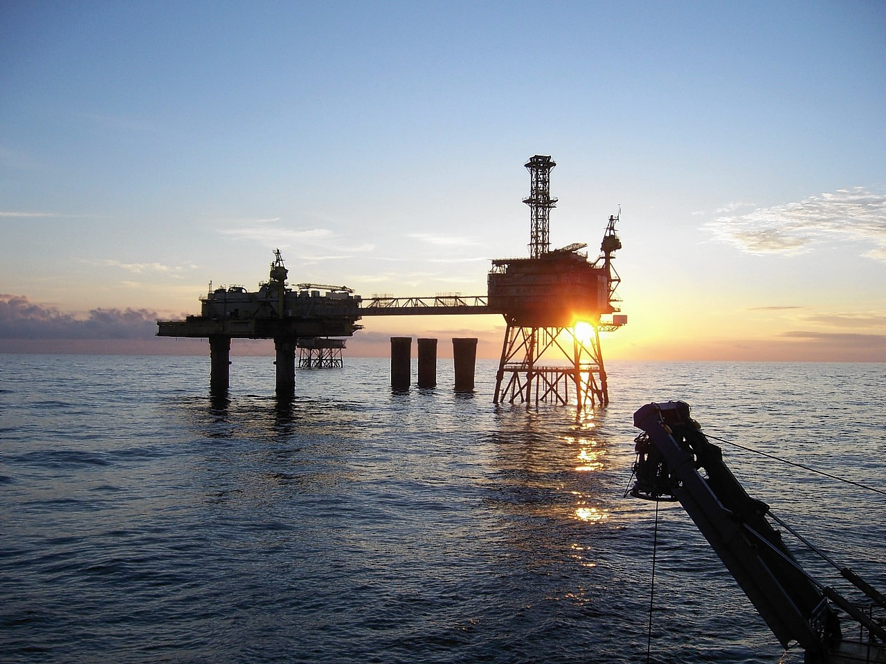 A North Sea installation at an advanced stage of being dismantled