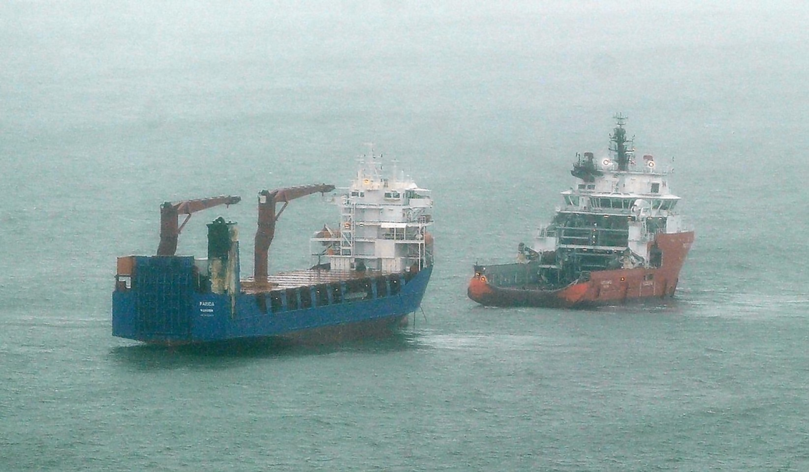 The Parida being towed to safety