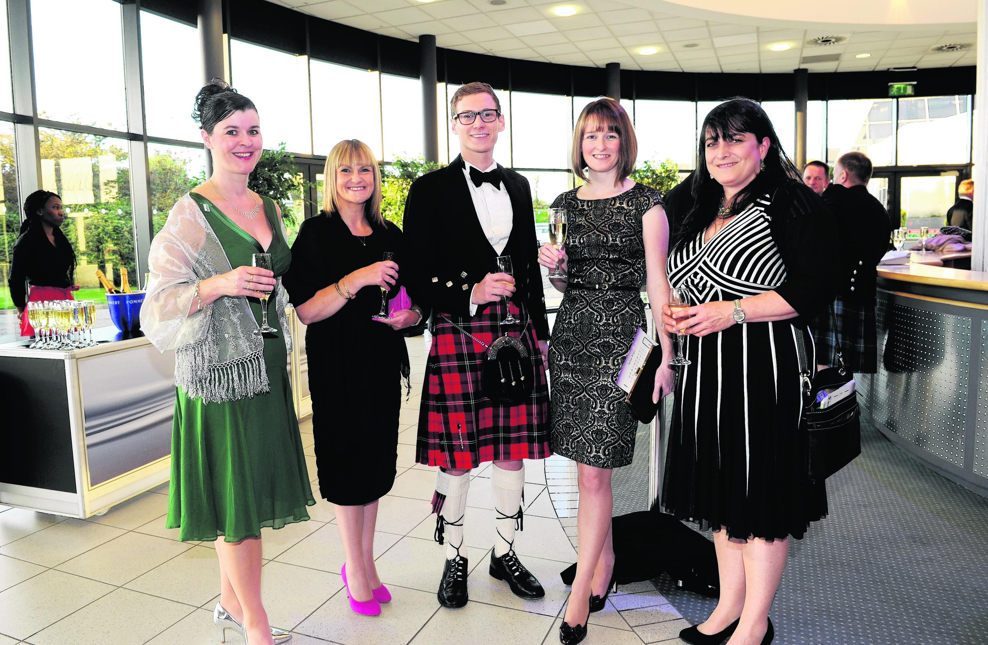 Aileen Stewart, Jackie Spence, Euan Grossett, Jennifer Mitchell and Isla Dewar attending the Northern Star Business Awards at AECC.