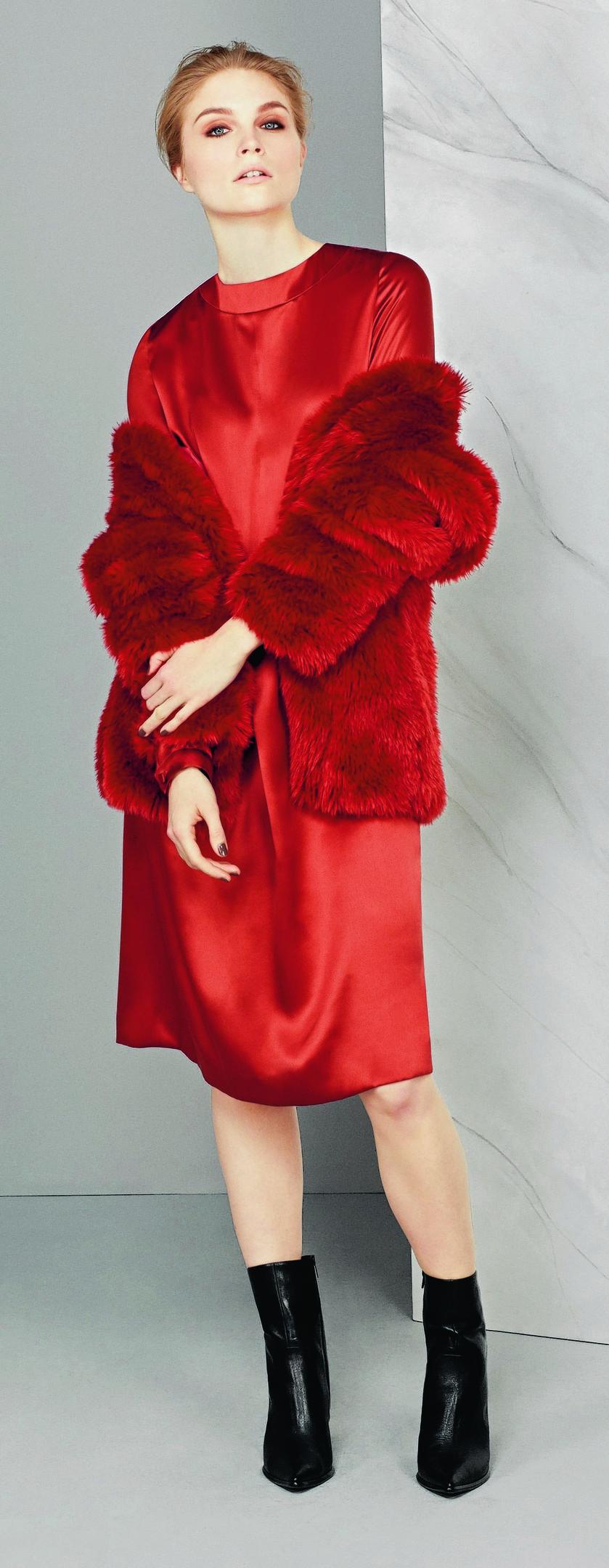 Autograph faux fur jacket, £129; Autograph dress, £89; boots, £85; all Marks & Spencer
