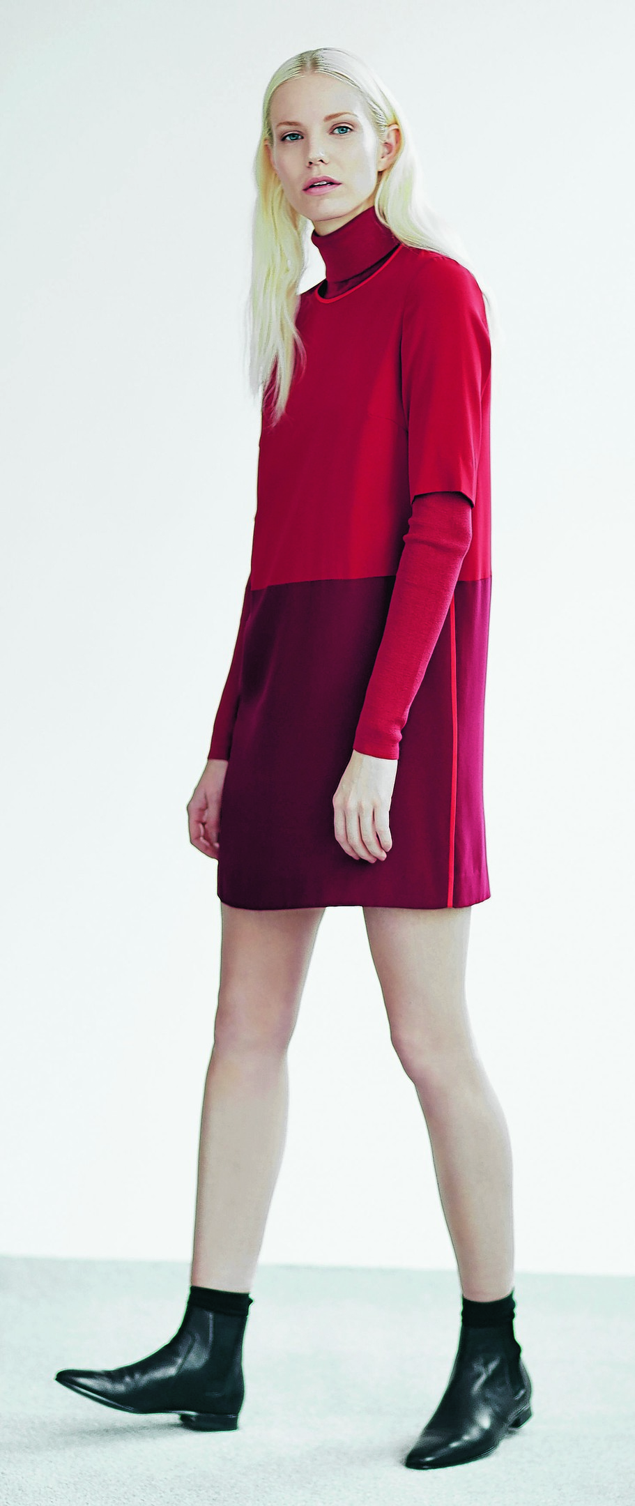 Colour block crepe dress, £129; polo neck, £79; Pixie ankle boots, £129; all Jigsaw