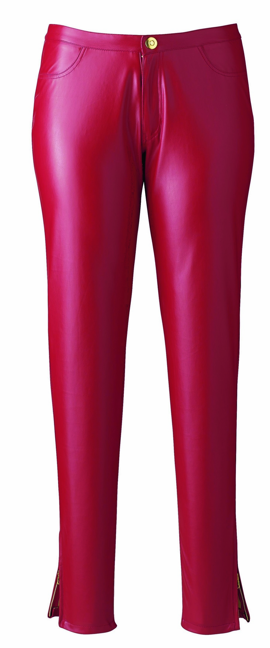 Kelly Brook for Simply Be red PU zip-hem trousers, £50