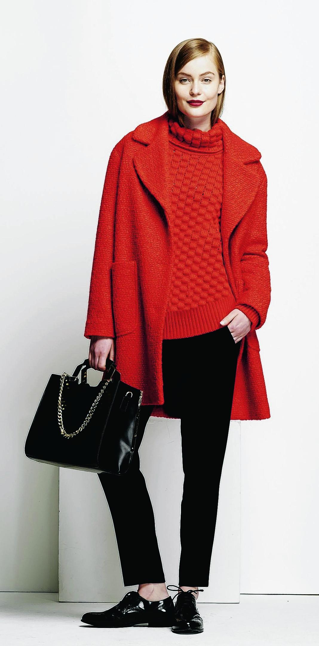 Coat, £65; roll neck jumper, £35; black trousers, £22; bag, £38; all Red Herring at Debenhams
