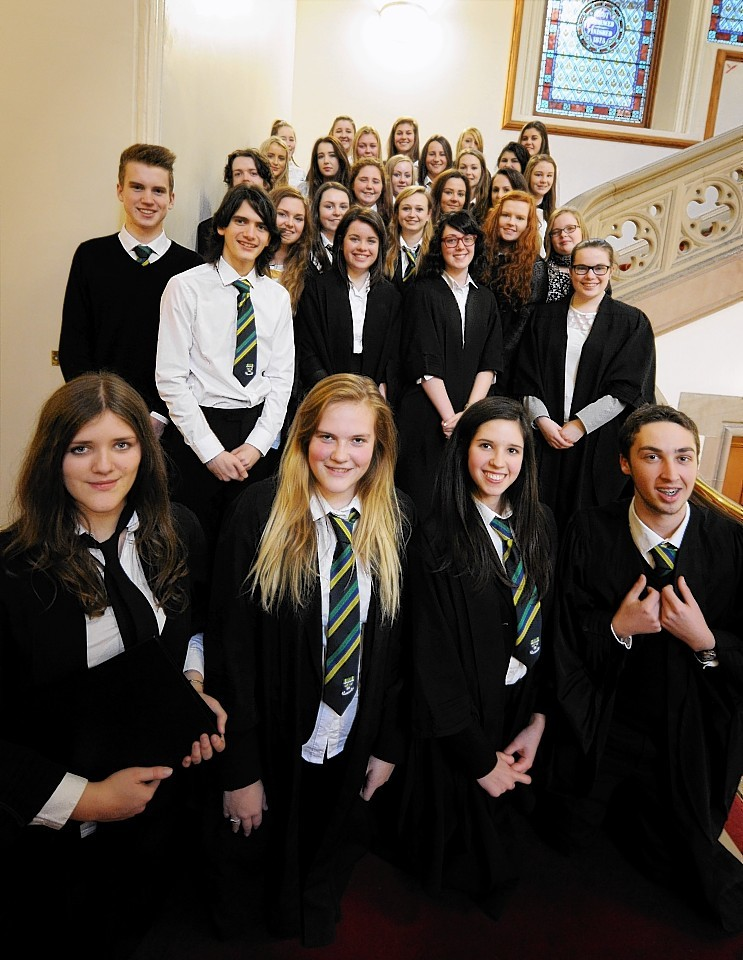Pupils from Aboyne and Turriff academies, who went head to head in courtroom battle final