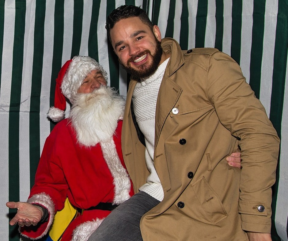 Adam Barton with Santa