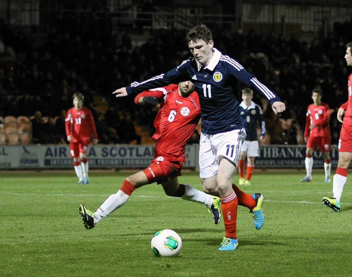 Andrew Robertson in action for Scotland